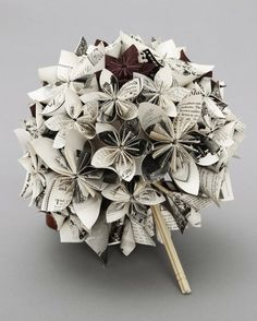 Bridal #bouquet with flowers made from books