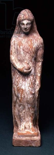 Woman Standing with Pomegranate, possibly the Goddess Persephone from Cyprus, 480-470 BC (terracotta and pigment). Fitzwilliam Museum, University of Cambridge, UK / The Bridgeman Art Library