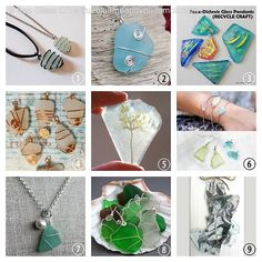 #DIY 9 Sea Glass Tutorials. None of them require a drill and these techniques could easily be used on pretty stones, raw crystals and large beads. #sea_glass #sea_glass_tutorial #wire_wrapping #tutorial