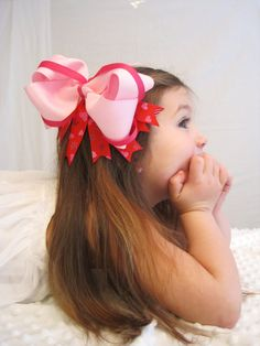 Valentine's Hair Bow/ Valentine Bow/ Boutique bow/ DIY/ Extra large hair accessory/ Girls