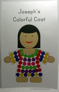 Joseph's Coat - Template to complete with stickers, paint, tissue paper, or markers www.BibleCraftsandActivities.com