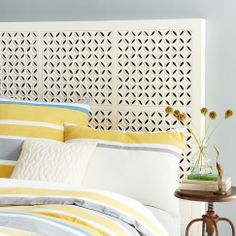 Carved Headboard in White from west elm - love how fresh & clean this is. decor, westelm, headboards, bedroom furniture, carv headboard, dustfre bedroom, white, hous, west elm