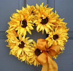 summer sunflow, idea, crafti, sunflowers, front door summer wreaths, sunflow wreath, summer front door decorations, thing, sunflower wreath