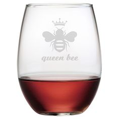Queen Bee Stemless Wine Glasses #gift