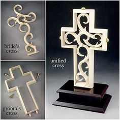 Unity Cross. Groom places the outer Cross on the wood base to symbolise how God created man- Bold, Strong, the Defender of the Family but empty and incomplete without the woman. Bride then places the delicate cross inside of the Grooms to show how God created Woman- Delicate, multi-faceted, taking care of all of the little things that complete the man, and the Two become One. 3 golden pegs lock the union together (Father, and Son, Holy Spirit) loooove this!!!