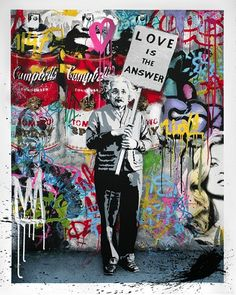 "Mr. Brainwash will be releasing ""Love Is The Answer"".  This edition of 100 is an 18 colour screen print on hand torn archival art paper and hand finished with spray paint, measures 36inx45.5in."