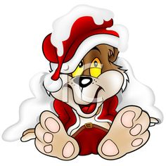Royalty Free Clipart Image of a Santa Clause Bear Puppy in the Snow