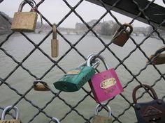 Love locks on the Seine River in Paris...