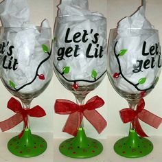 Let's Get Lit Painted Wine Glass by kraftymamaboutique on Etsy, $20.00