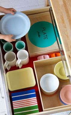 Everything in Its Place  Label and mark where everything should go and let your little one organize!