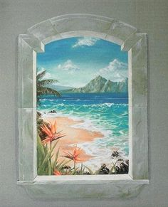 Trompe l 39 oeil on pinterest murals faux window and for Birds of paradise mural