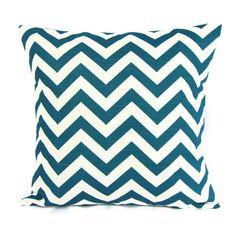 18x18 Throw Pillow Cover Turquoise Teal Blue White Chevron Home Decor Decorative Geometric $16
