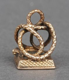 VICTORIAN GOLD & HELIOTROPE  SNAKE FORM WATCH FOB PENDANT  WAX SEAL NO RESERVE