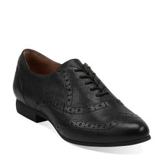 Charlie Brogue in Black Leather - Womens Shoes from Clarks (menswear, comfy fun)