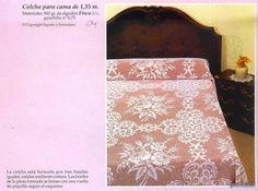 Flower bloom filet work bedspread with diagrams