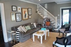 neutral living room--love the eclectic and the wall color is fab