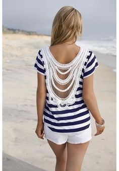 Crochet navy and white top