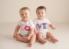 custom made Twin LOVE Onesies : great for twin gift and sibling photos