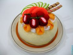 Crochet Fruit Cake Recipe, via Flickr. #naturadmc #crochet