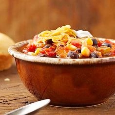 Veggies, veggies, veggies! This Vegetarian Chili is a great meal if you're trying to limit your meat intake. More chili ideas: http://www.bhg.com/recipes/chili/chili-recipes/?socsrc=bhgpin100513vegetarianchili&page=2