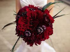 Gorgeous deep red wedding bouquet.