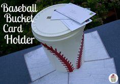 Homemade Baseball Decorations | Baseball Bucket Card Holder @ Hoosier Homemade