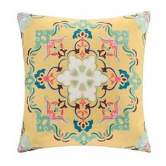 Intelligent Design Medallion Embroidered Decorative Pillow