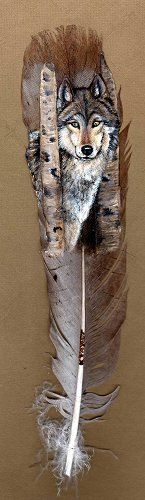 Wolf - Hand Painted Wild Turkey Feather by Karin Taylor