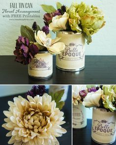 Create this cute and simple fall floral arrangment with an old tin can and these FREE Printables