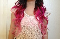 Brown Hair with Pink Ombre Ends