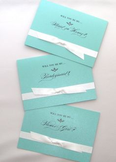 """""""Will you be my..."""" cards in Tiffany Blue ~ on Etsy"""