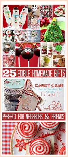 25 ADORABLE Homemade Christmas Edible Gifts... So yummy and cute!!!! #gifts #christmas #recipes