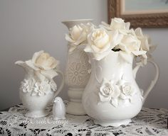 pitchers, roses and lace