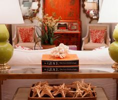 Dovecote Pop of red chinoiserie desk mixed wth neutral upholstery