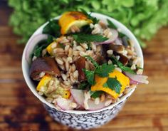 Roasted Zucchini and Eggplant Farro Salad