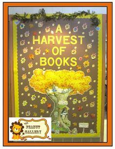 A Harvest of Books - bulletin board idea for fall