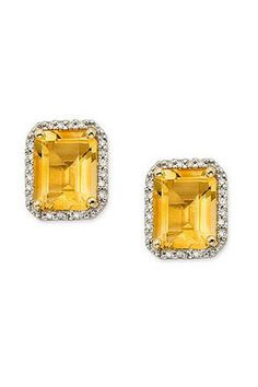 $69 Perfect for everyday, or a special night, these Citrine stud earrings are classic and timeless. Brilliant and large, the Citrine is set in 14K Gold & Sterling Silver accented by White Topaz.