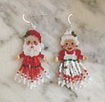 Beaded Mr & Mrs Clause Earrings Pattern -  2nd Edition by Linda Hampton aka Beadintrigue  at Bead-Patterns.com