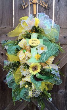 Easter Swag, Easter Wreath, Easter Door Hanger, Spring Swag, He Is Risen on Etsy, $85.00