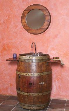 Bathroom Furniture, Rustic Vanities, Barnwood Vanity, Hammered Copper Sink, Stone Pedestal Sinks