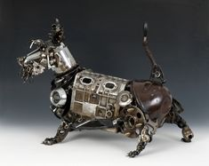 metal sculptures, jame corbett, small dogs, schnauzer, car parts, artist, old cars, steampunk, scottish terriers