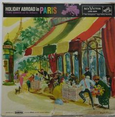 One of six records in RCA's Holiday Abroad series, all of which are illustrated by Mozelle Thompson (1958). This was a collaboration with Sabena Belgian World Airlines.   This image is pinned from the blog of a watercolor painter. She's under the impression that Mozelle Thompson is a woman. She attributes a few other illustrations, which are uncredited, to the artist. A few of these could possibly be Thompson's work, others are definitely not.
