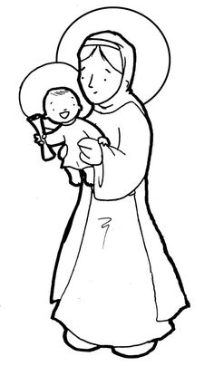 Mary and Jesus Coloring Page :) Seat of Wisdom