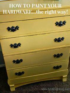 How To Paint Your Hardware...the right way www.bddesignblog.com #paintedfurniture #yellow #bddesignblog