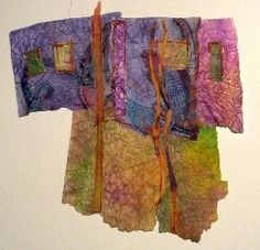 Fabric or Paper Collage Inspiration, fun use of paper or fiber scraps