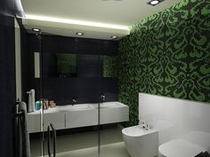 Aspen Green printed wallpaper elegantly contrasts this minimal interior by CreativeAffairs.