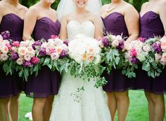 plum bridesmaid dresses, photo by Hunter Photographic http://ruffledblog.com/chagrin-falls-wedding #bridesmaids #bridesmaiddress #purple
