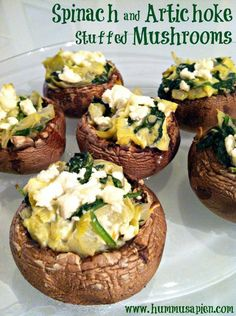 Spinach and Artichoke Stuffed Mushrooms- Stuffing Portabellas, Onion, Garlic, Spinach, Artichoke Hearts, Cream Cheese, Parmesan