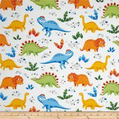 Jungle Club Dinosaur Playground White-Multi  - Fabric.com