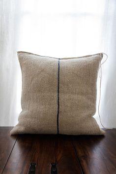 single stripe grain sack pillow